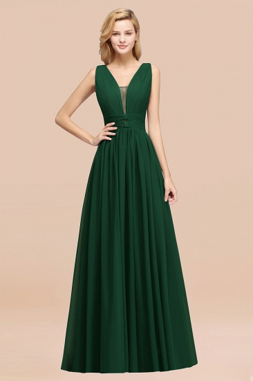 BMbridal Modest Dark Green Long Bridesmaid Dress Deep V-Neck Chiffon Maid of Honor Dress_31
