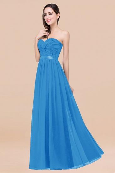BMbridal Affordable Sweetheart Ruffle Navy Chiffon Bridesmaid Dress With Ribbon_25