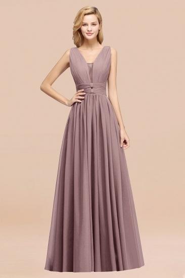 BMbridal Modest Dark Green Long Bridesmaid Dress Deep V-Neck Chiffon Maid of Honor Dress_37