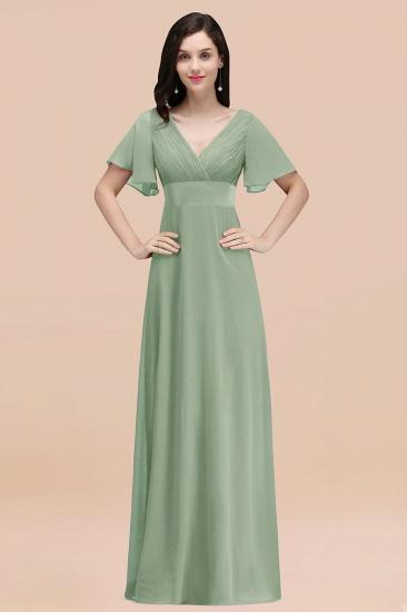 BMbridal Affordable V-Neck Ruffle Long Burgundy Bridesmaid Dress With Short-Sleeves_41