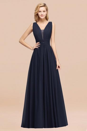 BMbridal Modest Dark Green Long Bridesmaid Dress Deep V-Neck Chiffon Maid of Honor Dress_28