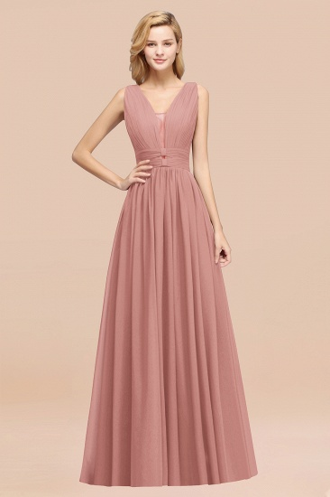 BMbridal Modest Dark Green Long Bridesmaid Dress Deep V-Neck Chiffon Maid of Honor Dress_50
