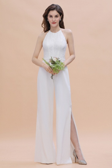 Sexy Halter Backless Lace Bridesmaid Jumpsuit with Slits On Sale