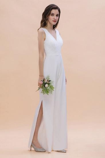 BMbridal Stylish V-neck Sleeveless White Lace Bridesmaid Jumpsuit Online_5