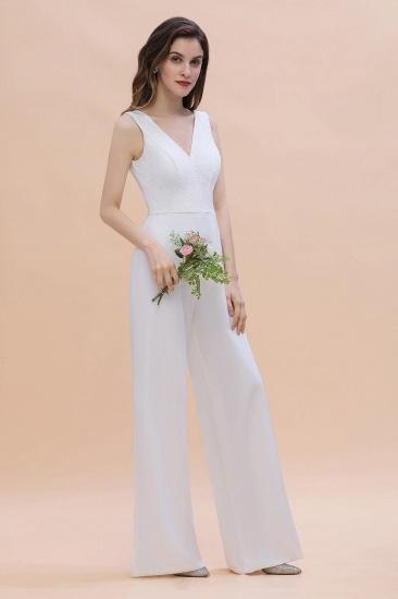 BMbridal Stylish V-neck Sleeveless White Lace Bridesmaid Jumpsuit Online_4