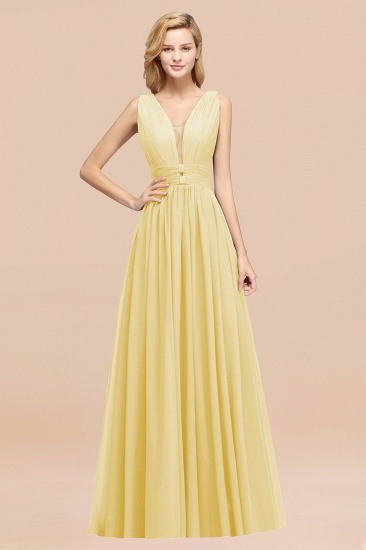 BMbridal Modest Dark Green Long Bridesmaid Dress Deep V-Neck Chiffon Maid of Honor Dress_18