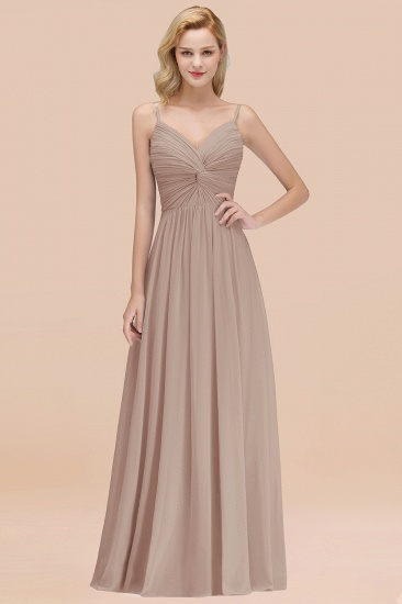 BMbridal Chic V-Neck Pleated Backless Bridesmaid Dresses with Spaghetti Straps_16