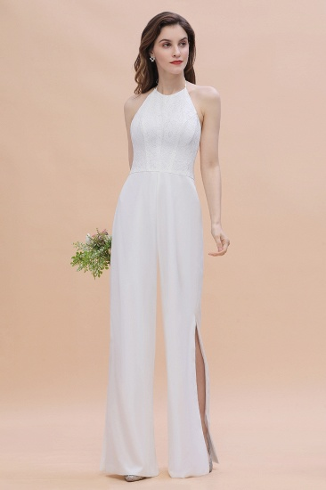 BMbridal Sexy Halter Backless Lace Bridesmaid Jumpsuit with Slits On Sale_5