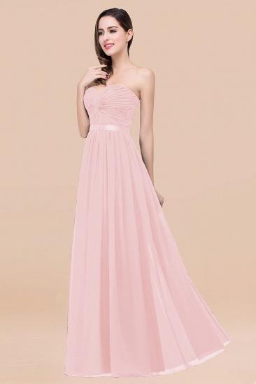 BMbridal Affordable Sweetheart Ruffle Navy Chiffon Bridesmaid Dress With Ribbon_3