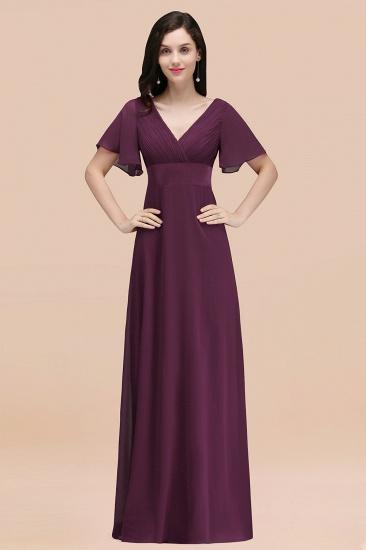 BMbridal Affordable V-Neck Ruffle Long Burgundy Bridesmaid Dress With Short-Sleeves_20