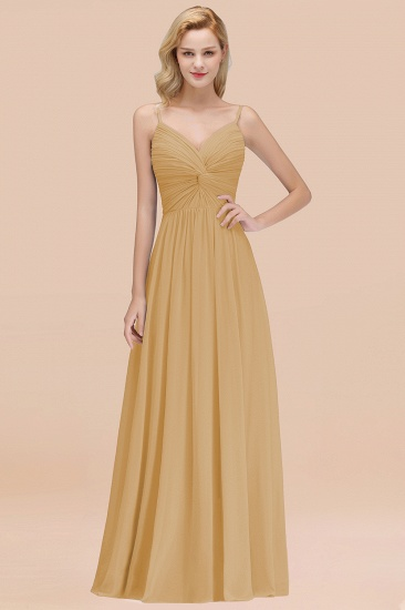 BMbridal Chic V-Neck Pleated Backless Bridesmaid Dresses with Spaghetti Straps_13