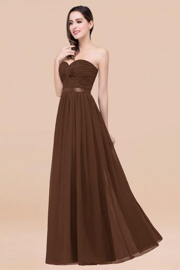 BMbridal Affordable Sweetheart Ruffle Navy Chiffon Bridesmaid Dress With Ribbon_12