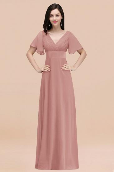 BMbridal Affordable V-Neck Ruffle Long Burgundy Bridesmaid Dress With Short-Sleeves_50