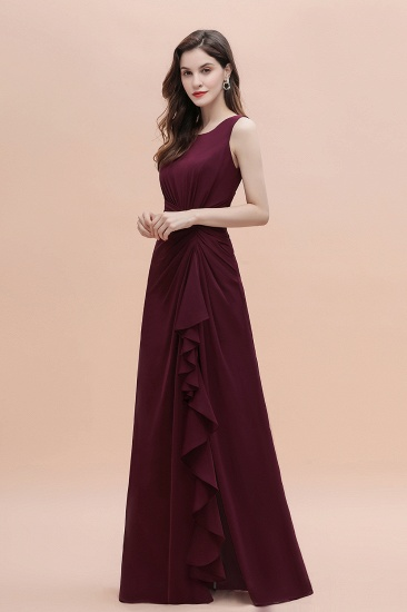 BMbridal Chic Jewel Cabernet Chiffon Ruffles Bridesmaid Dress with Slit On Sale_9