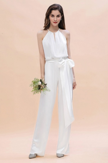 BMbridal Affordable Halter Sleeveless Ivory Charmeuse Bridesmaid Jumpsuit Online_1