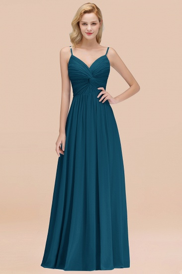 BMbridal Chic V-Neck Pleated Backless Bridesmaid Dresses with Spaghetti Straps_27