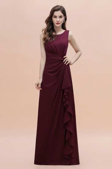 BMbridal Chic Jewel Cabernet Chiffon Ruffles Bridesmaid Dress with Slit On Sale_5