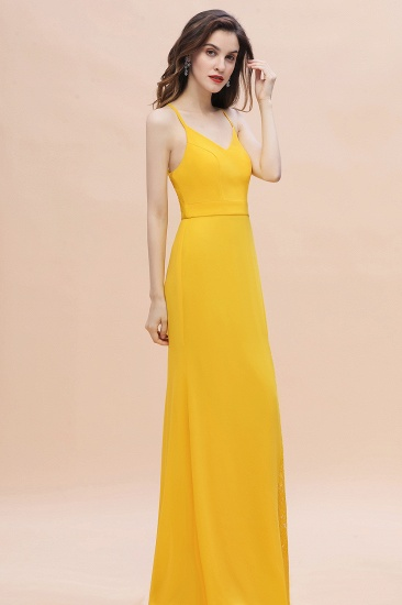 BMbridal Gorgeous Spaghett Straps V-Neck Chiffon Lace Bridesmaid Dress Online_6