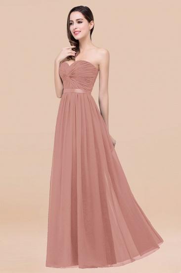 BMbridal Affordable Sweetheart Ruffle Navy Chiffon Bridesmaid Dress With Ribbon_50