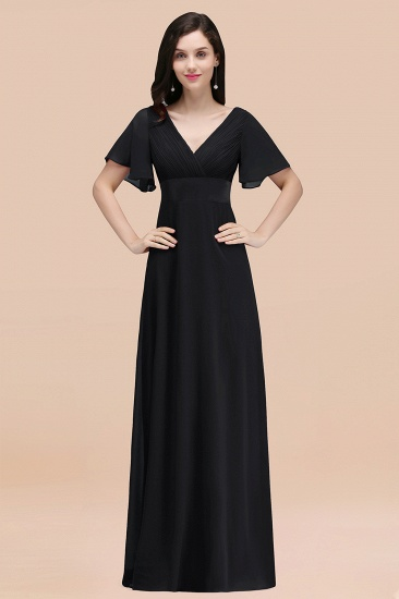 BMbridal Affordable V-Neck Ruffle Long Burgundy Bridesmaid Dress With Short-Sleeves_29