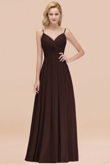 BMbridal Chic V-Neck Pleated Backless Bridesmaid Dresses with Spaghetti Straps_11