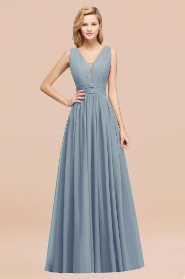 BMbridal Modest Dark Green Long Bridesmaid Dress Deep V-Neck Chiffon Maid of Honor Dress_40