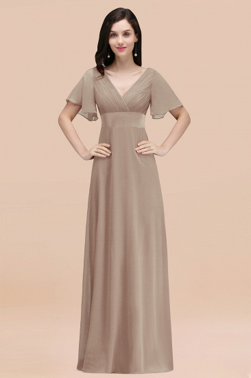 BMbridal Affordable V-Neck Ruffle Long Burgundy Bridesmaid Dress With Short-Sleeves_16
