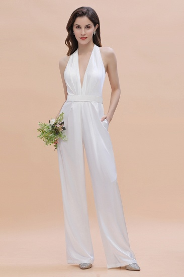 BMbridal Sexy Deep-V-Neck Halter Backless Charmeuse Bridesmaid Dress Online