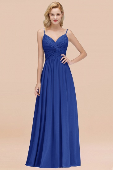 BMbridal Chic V-Neck Pleated Backless Bridesmaid Dresses with Spaghetti Straps_26