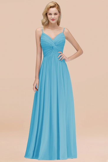 BMbridal Chic V-Neck Pleated Backless Bridesmaid Dresses with Spaghetti Straps_24