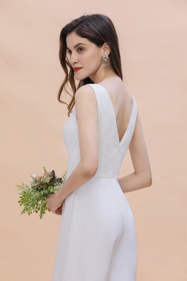 BMbridal Stylish V-neck Sleeveless White Lace Bridesmaid Jumpsuit Online_10