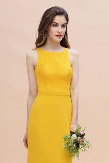 BMbridal Elegant Jewel Mermaid Chiffon Lace Bridesmaid Dress On Sale_9