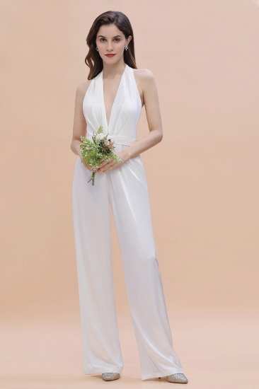 BMbridal Sexy Deep-V-Neck Halter Backless Charmeuse Bridesmaid Dress Online_4