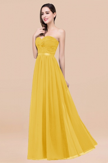 BMbridal Affordable Sweetheart Ruffle Navy Chiffon Bridesmaid Dress With Ribbon_17