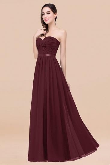 BMbridal Affordable Sweetheart Ruffle Navy Chiffon Bridesmaid Dress With Ribbon_47