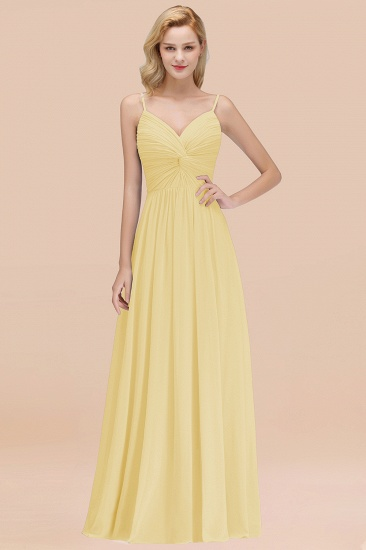 BMbridal Chic V-Neck Pleated Backless Bridesmaid Dresses with Spaghetti Straps_18