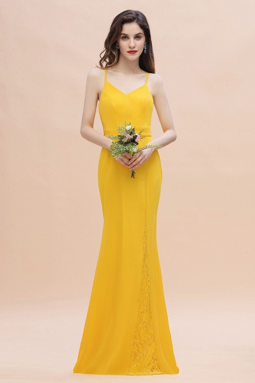 BMbridal Gorgeous Spaghett Straps V-Neck Chiffon Lace Bridesmaid Dress Online_5