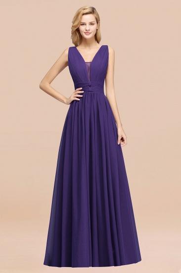 BMbridal Modest Dark Green Long Bridesmaid Dress Deep V-Neck Chiffon Maid of Honor Dress_19