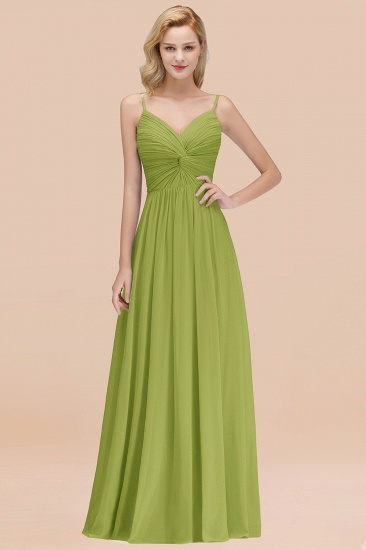 BMbridal Chic V-Neck Pleated Backless Bridesmaid Dresses with Spaghetti Straps_34