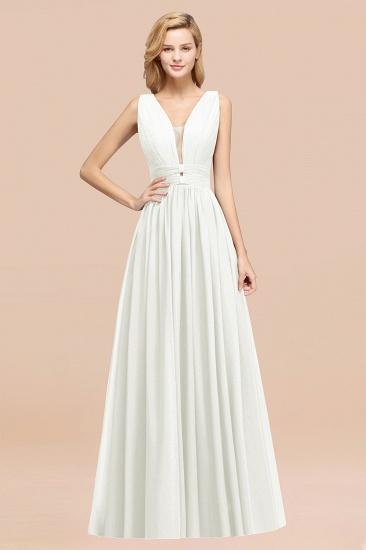 BMbridal Modest Dark Green Long Bridesmaid Dress Deep V-Neck Chiffon Maid of Honor Dress_2