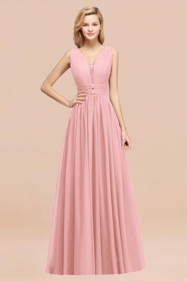 BMbridal Modest Dark Green Long Bridesmaid Dress Deep V-Neck Chiffon Maid of Honor Dress_4