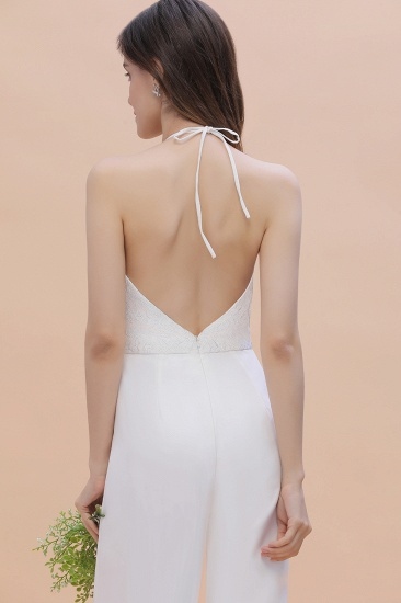 BMbridal Sexy Halter Backless Lace Bridesmaid Jumpsuit with Slits On Sale_10