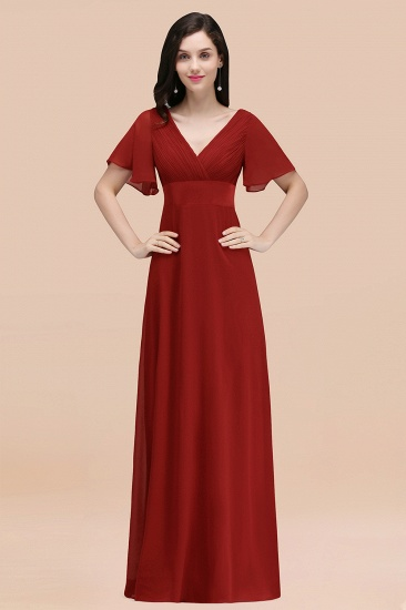 BMbridal Affordable V-Neck Ruffle Long Burgundy Bridesmaid Dress With Short-Sleeves_48