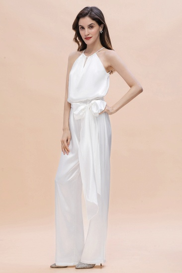 BMbridal Affordable Halter Sleeveless Ivory Charmeuse Bridesmaid Jumpsuit Online_7