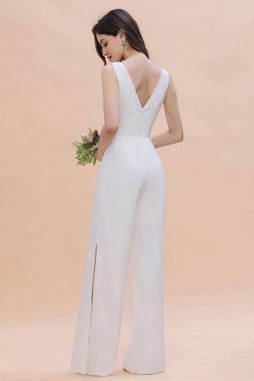 BMbridal Stylish V-neck Sleeveless White Lace Bridesmaid Jumpsuit Online_7
