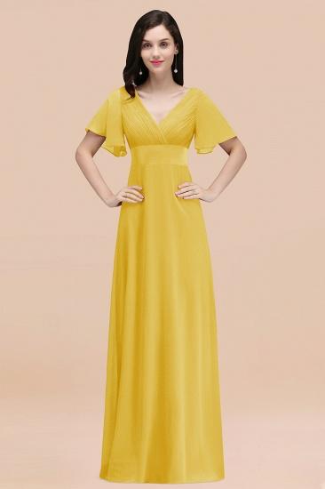 BMbridal Affordable V-Neck Ruffle Long Burgundy Bridesmaid Dress With Short-Sleeves_17