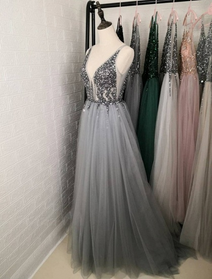 BMbridal Charming V-Neck Tulle Prom Dress Long Evening Party Gowns With Lace Appliques_4