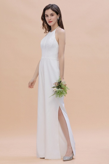 BMbridal Sexy Halter Backless Lace Bridesmaid Jumpsuit with Slits On Sale_4