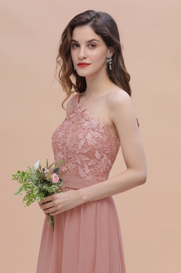 BMbridal Chic One Shoulder Chiffon Lace Vintage Mauve Bridesmaid Dress On Sale_9