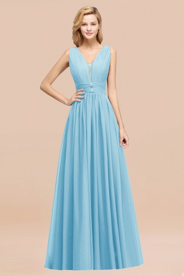 BMbridal Modest Dark Green Long Bridesmaid Dress Deep V-Neck Chiffon Maid of Honor Dress_23